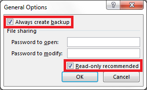 Select Always Create backup and Read-only recommended.